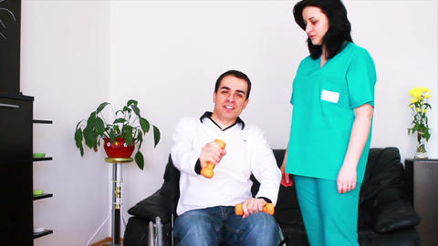Physical Therapist Working With Patient 3 stock footage