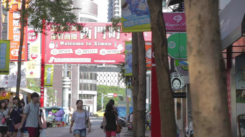 Welcome to Ximen sign - group of young girls Footage