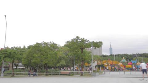 Pan - man skateboards at Da-an park Footage