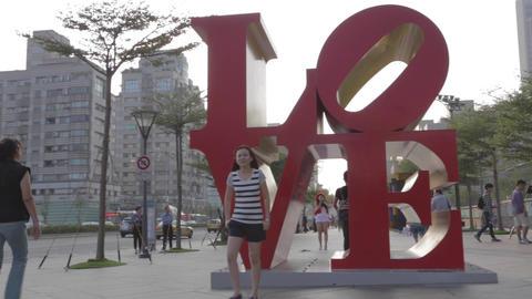 pan - love sculpture at Taipei 101 Footage