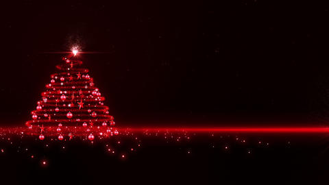 Red Glowing Christmas Tree stock footage