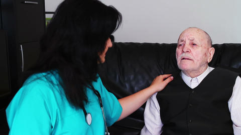 Senior Man Talking With Nurse 2 stock footage