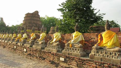 Budist Temple in Ayutthaya Footage