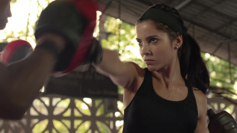 Girl Working Out And Doing Sport For Self Defense stock footage
