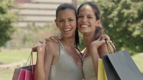 Portrait Of Women With Shopping Bags stock footage