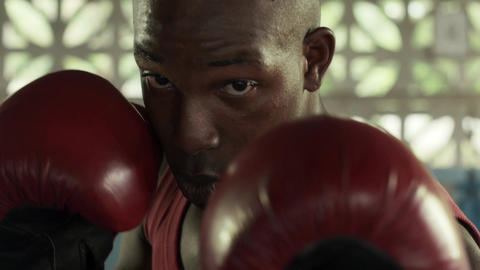 Slow Motion Of Sports And Combat With Young Black man boxing Footage
