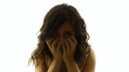 Vintage girl silhouette upset sad MS CC Footage