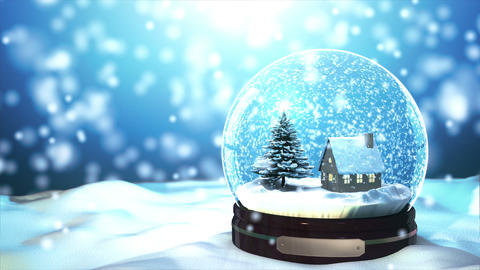 4K Loop Able Christmas Snow Globe Snowflake With S stock footage