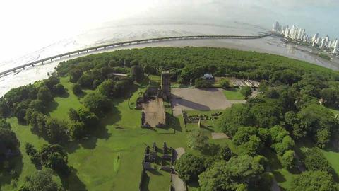 Bird eye view of Panama Viejo Ruins Footage