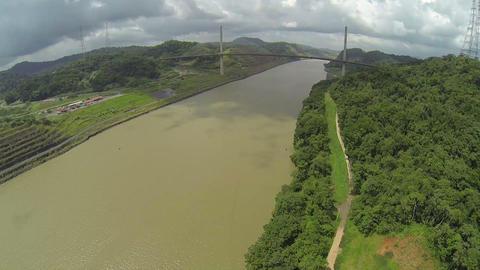 Aerial View of Panama Centenarian Centennial bridg Footage