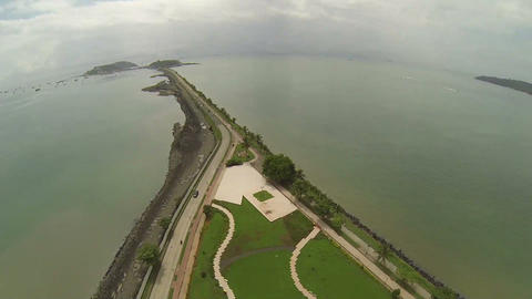 Aerial View of Amador Causeway, the Pacific entran Footage