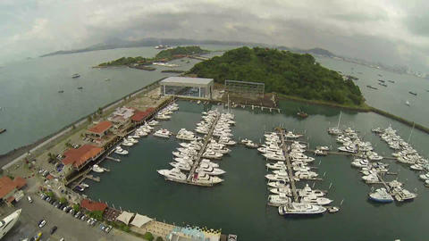 Aerial view to pier with yachts and boats from Cau Footage