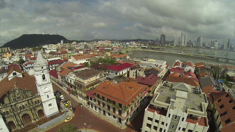 Aerial view of Panama City, Casco Viejo Footage
