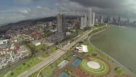 Panama City, Panama, NOV 5. Skyscrapers with sea a Footage