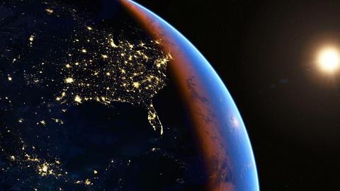 North America at night Animation