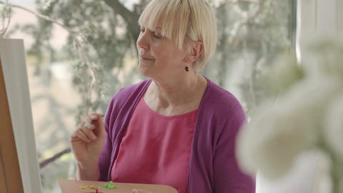 Happy Retired Senior Woman Painting On Canvas For  stock footage