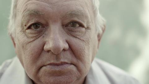 Seniors portrait, contemplative old caucasian man Footage