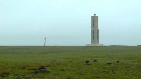 Knarraros Lighthouse In Iceland stock footage