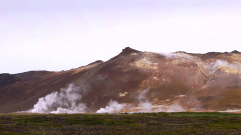 Active Geothermal Landscape In Hveraroend stock footage