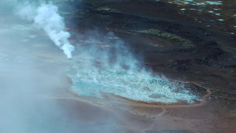 Geothermal landscape with fumaroles Footage