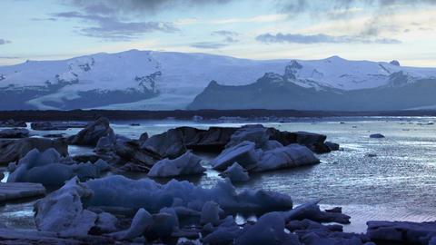 Large Floating Blue Icebergs stock footage