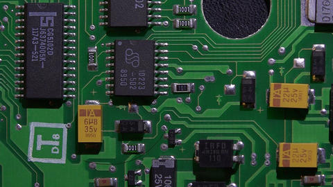Circuit board with microchips. Electronics Footage