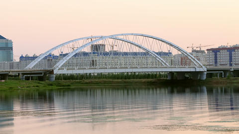Sunset view of the bridge. Arys bridge, Astana, Ka Footage