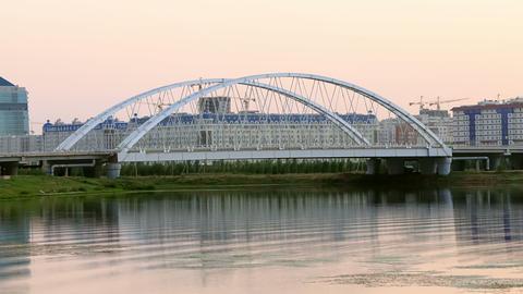 Sunset view of the bridge. Arys bridge, Astana, Ka Footage
