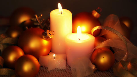 Christmas Decorations and Candles Footage