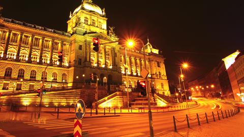 Timelapse Of The National Museum In Prague stock footage