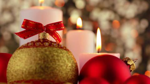 Candles and Christmas Decorations. Close-Up Footage
