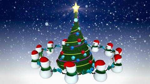 Snowmen around christmas tree Animation