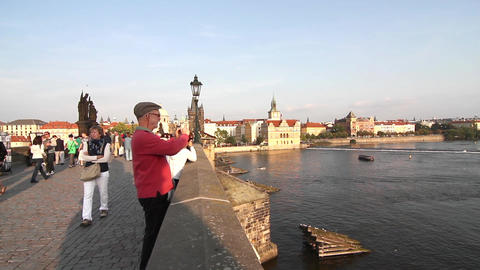 View on the Vitava River from the Charles Bridge Footage