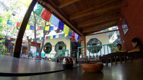 Hotel open air cafe. Kathmandu. Nepal, Full HD (ti Footage