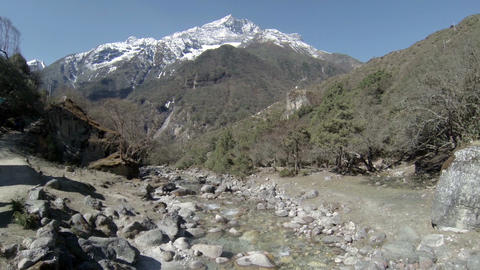 Mountain river. Melting glacier Ngozumpa, Himalaya Footage