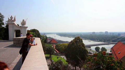 View from the Castle in Bratislava, Slovakia Footage
