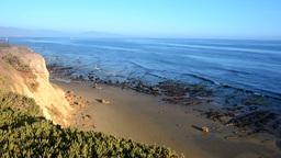 Orange Hillside Ocean Overlook stock footage