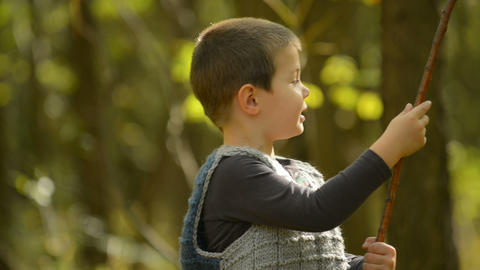 Little Boy Playing In The Woods stock footage