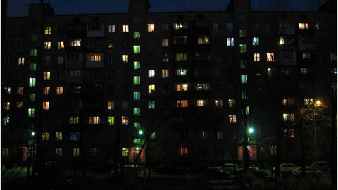 Apartment house in the evening and at night (timel Footage