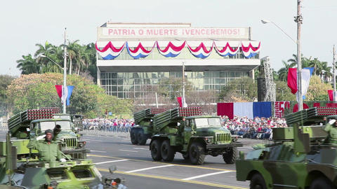 Army Trucks At Military Parade In Havana Cuba Footage