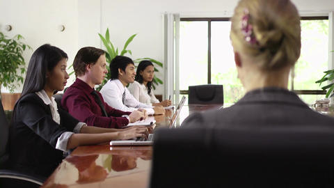 Beautiful Woman Smiling At Business Meeting In Off stock footage