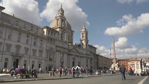 City View Of Rome With Piazza Navona And Tourists  stock footage