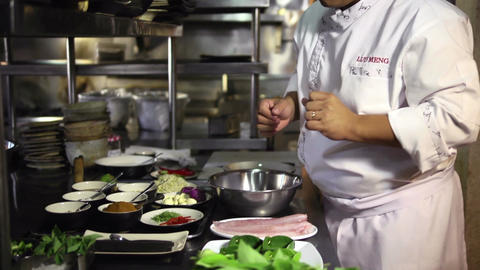 Professional Asian Chef Working In Restaurant Kitc stock footage