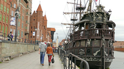 Gdansk, Poland - old town. Galleon ship Footage