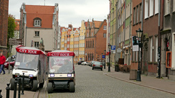 Gdansk, Poland. City tour cars waits for tourist Footage