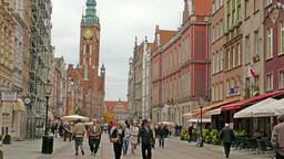 Gdansk, Poland. The town hall and strolling people Live Action