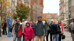 Gdansk, Poland. The Long street and strolling peop Live Action