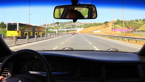 Highway driving up towards Bosphorus Bridge with a Footage