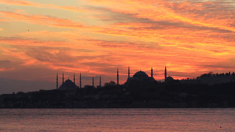 Sunset over Blue Mosque and Hagia Sophia Footage
