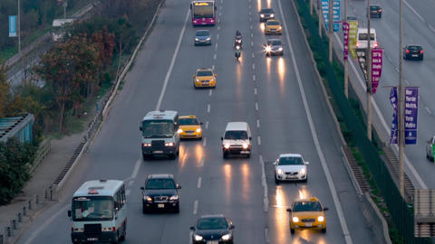 In-city traffic on E5 Road in Istanbul Footage